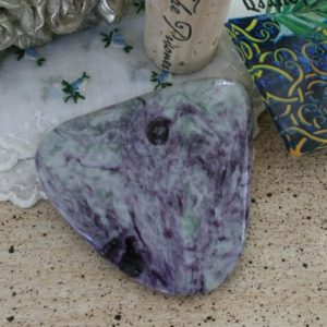 """Shop Serpentine Shapes! Kammererite and Serpentine Polished Freeform from India, 2.40""""x2.36""""x0.29"""", weight: 48.7 grams 