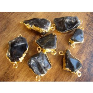 Shop Smoky Quartz Chip & Nugget Beads! Raw Smoky Quartz Connectors, Raw Gemstone Connectors, Natural Smoky Quartz Crystal, Smoky Quartz Rough, 5 Pieces, 22mm To 28mm Approx   Natural genuine chip Smoky Quartz beads for beading and jewelry making.  #jewelry #beads #beadedjewelry #diyjewelry #jewelrymaking #beadstore #beading #affiliate #ad
