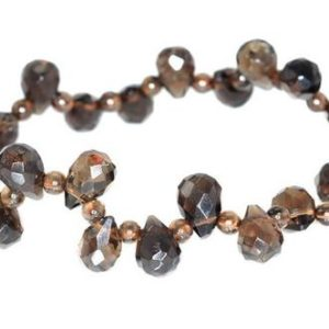 Shop Smoky Quartz Faceted Beads! 8×5-9x6mm Smoky Quartz Gemstone Grade AA Faceted Teardrop Loose Beads 6 inch Half Strand (90146065-812) | Natural genuine faceted Smoky Quartz beads for beading and jewelry making.  #jewelry #beads #beadedjewelry #diyjewelry #jewelrymaking #beadstore #beading #affiliate #ad