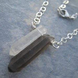 Shop Smoky Quartz Necklaces! Smoky Quartz Crystal Necklace, 925 Sterling Silver, Raw Quartz Point Bar Twins Necklace, Minimalist, Choose Length, READY To SHIP QSS9 | Natural genuine Smoky Quartz necklaces. Buy crystal jewelry, handmade handcrafted artisan jewelry for women.  Unique handmade gift ideas. #jewelry #beadednecklaces #beadedjewelry #gift #shopping #handmadejewelry #fashion #style #product #necklaces #affiliate #ad