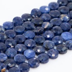 Shop Sodalite Faceted Beads! Genuine Natural Sodalite Loose Beads Faceted Flat Round Button Shape 6mm | Natural genuine faceted Sodalite beads for beading and jewelry making.  #jewelry #beads #beadedjewelry #diyjewelry #jewelrymaking #beadstore #beading #affiliate #ad
