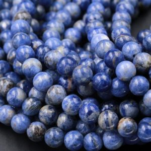 "Natural Denim Sodalite 6mm Round 8mm Round 10mm Round Beads Earthy Denim Blue Color Stone Gemstone 15.5"" Strand 