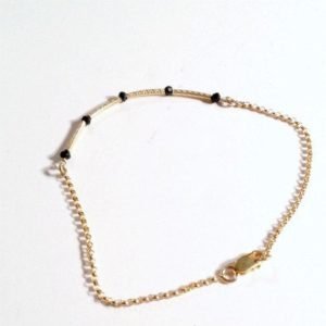 Shop Spinel Bracelets! Black Skinny Bracelet Bead Bar Thin Chain Spinel Gold Vermeil Jewelry Layering Stackable Jewellery TBM | Natural genuine Spinel bracelets. Buy crystal jewelry, handmade handcrafted artisan jewelry for women.  Unique handmade gift ideas. #jewelry #beadedbracelets #beadedjewelry #gift #shopping #handmadejewelry #fashion #style #product #bracelets #affiliate #ad