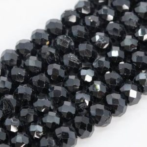 Shop Spinel Faceted Beads! Genuine Natural Black Spinel Loose Beads Grade A Faceted Rondelle Shape 5x4mm   Natural genuine faceted Spinel beads for beading and jewelry making.  #jewelry #beads #beadedjewelry #diyjewelry #jewelrymaking #beadstore #beading #affiliate #ad