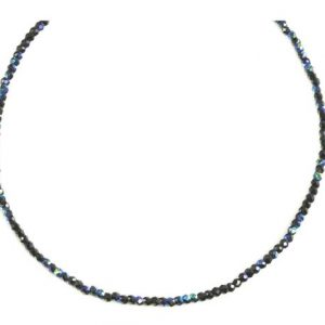 Shop Spinel Necklaces! Black Spinel Necklace Sterling Silver Or 14k Gold Filled 2 To 3mm 18 Inch Faceted Aaa Solid Beaded Strand Natural Faceted Mystic Blue Finish | Natural genuine Spinel necklaces. Buy crystal jewelry, handmade handcrafted artisan jewelry for women.  Unique handmade gift ideas. #jewelry #beadednecklaces #beadedjewelry #gift #shopping #handmadejewelry #fashion #style #product #necklaces #affiliate #ad