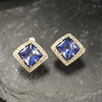 Tanzanite Earrings, Created Tanzanite, Square Earrings, Blue Stud Earrings, Antique Studs, Princess Cut Earrings, Sterling Silver Earrings | Natural genuine Gemstone jewelry. Buy crystal jewelry, handmade handcrafted artisan jewelry for women.  Unique handmade gift ideas. #jewelry #beadedjewelry #beadedjewelry #gift #shopping #handmadejewelry #fashion #style #product #jewelry #affiliate #ad
