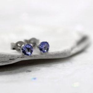 Shop Tanzanite Earrings! Tanzanite Stud Earrings, Rare Faceted Blue Tanzanite Ear Studs, December Birthstone Gift, Sterling Silver Or Gold Stud Earrings, 3mm Studs | Natural genuine Tanzanite earrings. Buy crystal jewelry, handmade handcrafted artisan jewelry for women.  Unique handmade gift ideas. #jewelry #beadedearrings #beadedjewelry #gift #shopping #handmadejewelry #fashion #style #product #earrings #affiliate #ad