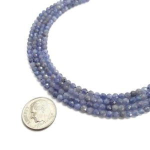 "Shop Tanzanite Faceted Beads! Natural Tanzanite Faceted Round Loose Beads Size Approx 2mm 3mm 3.5mm 15.5"" Strand 