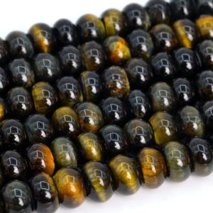 Shop Tiger Eye Rondelle Beads! Genuine Natural Yellow Blue Tiger Eye Loose Beads Grade A Rondelle Shape 6x4mm 8x5mm | Natural genuine rondelle Tiger Eye beads for beading and jewelry making.  #jewelry #beads #beadedjewelry #diyjewelry #jewelrymaking #beadstore #beading #affiliate #ad