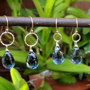 Shop Topaz Earrings! London blue topaz earrings. Your choice of Sterling silver or gold filled | Natural genuine Topaz earrings. Buy crystal jewelry, handmade handcrafted artisan jewelry for women.  Unique handmade gift ideas. #jewelry #beadedearrings #beadedjewelry #gift #shopping #handmadejewelry #fashion #style #product #earrings #affiliate #ad