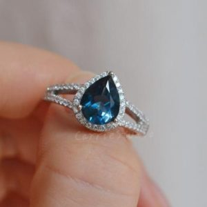 Shop Topaz Rings! Pear 7*9 mm London Blue Topaz Ring Topaz Engagement Ring Promise Ring Anniversary Ring | Natural genuine Topaz rings, simple unique alternative gemstone engagement rings. #rings #jewelry #bridal #wedding #jewelryaccessories #engagementrings #weddingideas #affiliate #ad
