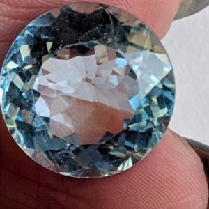 Shop Topaz Round Beads! 13mm Blue Topaz Round Cut Stone, Natural Blue Topaz Brilliant Cut Stone, Loose Blue Topaz Pointed Back Stone, Topaz Solitaire For Ring | Natural genuine round Topaz beads for beading and jewelry making.  #jewelry #beads #beadedjewelry #diyjewelry #jewelrymaking #beadstore #beading #affiliate #ad