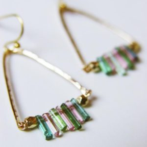 Raw Tourmaline Gold Earrings, Multi Tourmaline Triangle Earrings | Natural genuine Tourmaline earrings. Buy crystal jewelry, handmade handcrafted artisan jewelry for women.  Unique handmade gift ideas. #jewelry #beadedearrings #beadedjewelry #gift #shopping #handmadejewelry #fashion #style #product #earrings #affiliate #ad