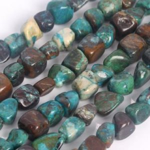Shop Turquoise Chip & Nugget Beads! Genuine Natural Chrysocolla Loose Beads Grade A Pebble Nugget Shape 8-10mm | Natural genuine chip Turquoise beads for beading and jewelry making.  #jewelry #beads #beadedjewelry #diyjewelry #jewelrymaking #beadstore #beading #affiliate #ad