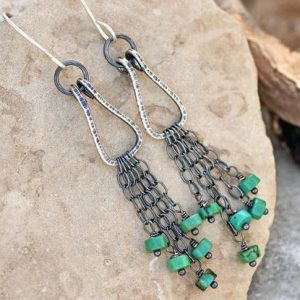 Shop Turquoise Earrings! Long Turquoise Earrings, Artisan Sterling Silver Chain Fringe Dangles, Rustic Green Gemstone Jewelry   Natural genuine Turquoise earrings. Buy crystal jewelry, handmade handcrafted artisan jewelry for women.  Unique handmade gift ideas. #jewelry #beadedearrings #beadedjewelry #gift #shopping #handmadejewelry #fashion #style #product #earrings #affiliate #ad