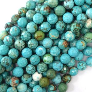 "Shop Turquoise Faceted Beads! Faceted Blue Turquoise Round Beads 15.5"" Strand S2 2mm 4mm 6mm 8mm 10mm 12mm 