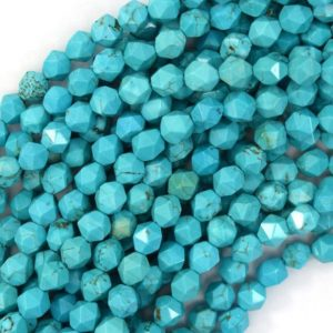 "Shop Turquoise Faceted Beads! Star Cut Faceted Blue Turquoise Round Beads 15"" Diamond Cut 6mm 8mm 10mm 