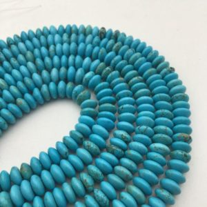 "Shop Turquoise Rondelle Beads! Blue Turquoise Smooth Rondelle Discs Beads 4x8mm 4x10mm 5x12mm 15.5"" Strand 