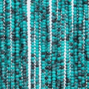 Shop Turquoise Rondelle Beads! Natural Blue Green Turquoise Loose Beads Rondelle Shape 2x2mm | Natural genuine rondelle Turquoise beads for beading and jewelry making.  #jewelry #beads #beadedjewelry #diyjewelry #jewelrymaking #beadstore #beading #affiliate #ad