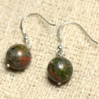Earrings 925 Sterling Silver And Stone – Unakite Balls 10mm | Natural genuine Gemstone jewelry. Buy crystal jewelry, handmade handcrafted artisan jewelry for women.  Unique handmade gift ideas. #jewelry #beadedjewelry #beadedjewelry #gift #shopping #handmadejewelry #fashion #style #product #jewelry #affiliate #ad