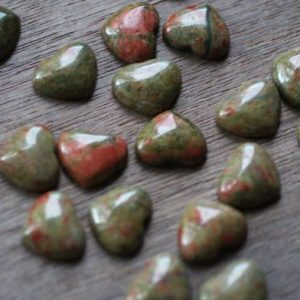 Shop Unakite Shapes! SET of 10 Unakite Small Shaped Heart with Flat Back K352 | Natural genuine stones & crystals in various shapes & sizes. Buy raw cut, tumbled, or polished gemstones for making jewelry or crystal healing energy vibration raising reiki stones. #crystals #gemstones #crystalhealing #crystalsandgemstones #energyhealing #affiliate #ad