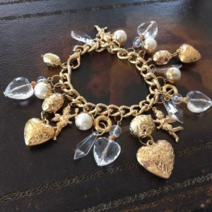 Vintage Chunky Gold Tone Plastic Crystal Faux Pearl Charm Bracelet | Natural genuine Gemstone bracelets. Buy crystal jewelry, handmade handcrafted artisan jewelry for women.  Unique handmade gift ideas. #jewelry #beadedbracelets #beadedjewelry #gift #shopping #handmadejewelry #fashion #style #product #bracelets #affiliate #ad