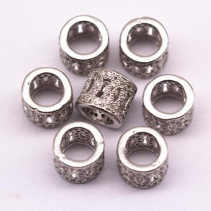 Silver Micro Pave Zircon Cylinder Charm Size 10x8mm Sold per Piece | Natural genuine stones & crystals in various shapes & sizes. Buy raw cut, tumbled, or polished gemstones for making jewelry or crystal healing energy vibration raising reiki stones. #crystals #gemstones #crystalhealing #crystalsandgemstones #energyhealing #affiliate #ad