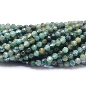 Shop Moss Agate Beads! AAA Green Moss Agate Micro Faceted Round Beads | 2mm-2.5mm Beads 13inch Strand | Natural Agate Semi Precious Gemstone Wholesale Price Beads | Natural genuine beads Moss Agate beads for beading and jewelry making.  #jewelry #beads #beadedjewelry #diyjewelry #jewelrymaking #beadstore #beading #affiliate #ad