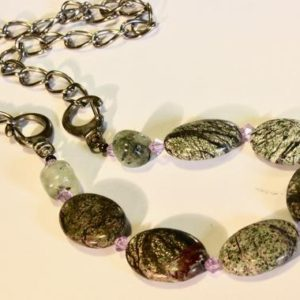 Shop Moss Agate Necklaces! Agate and Moss Agate Necklace with silver chain | Natural genuine Moss Agate necklaces. Buy crystal jewelry, handmade handcrafted artisan jewelry for women.  Unique handmade gift ideas. #jewelry #beadednecklaces #beadedjewelry #gift #shopping #handmadejewelry #fashion #style #product #necklaces #affiliate #ad