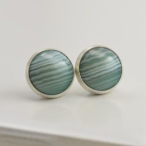 Shop Agate Earrings! green banded agate 10mm sterling silver stud earrings pair | Natural genuine Agate earrings. Buy crystal jewelry, handmade handcrafted artisan jewelry for women.  Unique handmade gift ideas. #jewelry #beadedearrings #beadedjewelry #gift #shopping #handmadejewelry #fashion #style #product #earrings #affiliate #ad