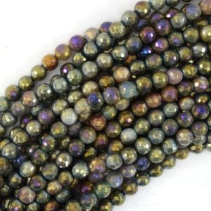"Shop Agate Faceted Beads! Mystic Titanium Faceted Indian Agate Round Beads 15"" 4mm 6mm 8mm 10mm 12mm 
