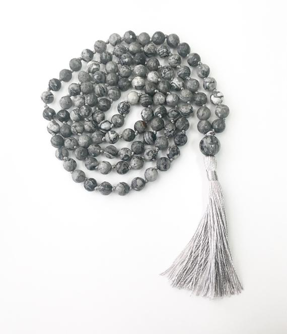 108 Bead Malas, Agate Mala, Mala Necklace Faceted Jewelry Hand Knotted Mala Crazy Lace Agate, Tassel Necklace Beaded Necklace, Gemstone Mala