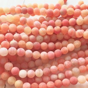 Cracked Agate, 8mm Beads, Matte Beads, Cracked Agate Beads, Orange Beads, Agate Beads, Orange Agate Beads, Gemstone Beads, Frosted Beads | Natural genuine beads Gemstone beads for beading and jewelry making.  #jewelry #beads #beadedjewelry #diyjewelry #jewelrymaking #beadstore #beading #affiliate #ad