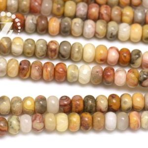 """Shop Crazy Lace Agate Beads! Multicolor Crazy Lace Agate smooth rondelle spacer beads,roundel bead,abacus beads,Natural,4x6mm 5x8mm 6x10mm for Choice,15"""" full strand 