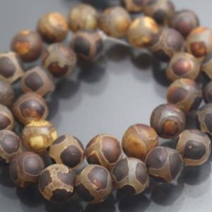 Shop Agate Round Beads! 8mm/10mm Tibetan Agate Round Beads,15 inches one starand | Natural genuine round Agate beads for beading and jewelry making.  #jewelry #beads #beadedjewelry #diyjewelry #jewelrymaking #beadstore #beading #affiliate #ad