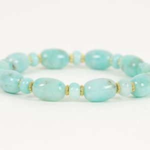 Shop Amazonite Bracelets! Peruvian Amazonite Gemstone Bracelet, Stretch Bracelet made with genuine Amazonite and Gold Filled Daisies   Natural genuine Amazonite bracelets. Buy crystal jewelry, handmade handcrafted artisan jewelry for women.  Unique handmade gift ideas. #jewelry #beadedbracelets #beadedjewelry #gift #shopping #handmadejewelry #fashion #style #product #bracelets #affiliate #ad