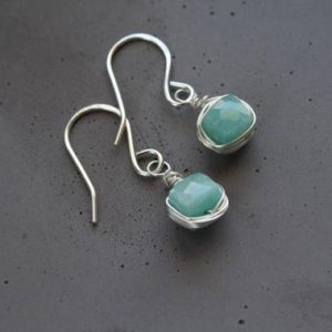 Shop Amazonite Earrings! Green Amazonite earrings, small green drop earrings, Amazonite Drop Earrings, small silver drop earrings, tiny drop earrings sterling silver | Natural genuine Amazonite earrings. Buy crystal jewelry, handmade handcrafted artisan jewelry for women.  Unique handmade gift ideas. #jewelry #beadedearrings #beadedjewelry #gift #shopping #handmadejewelry #fashion #style #product #earrings #affiliate #ad