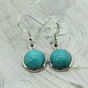 Shop Amazonite Earrings! Round Amazonite amazing color stone drop earrings set on sterling silver 925 round cab stone genuine natural amazonite | Natural genuine Amazonite earrings. Buy crystal jewelry, handmade handcrafted artisan jewelry for women.  Unique handmade gift ideas. #jewelry #beadedearrings #beadedjewelry #gift #shopping #handmadejewelry #fashion #style #product #earrings #affiliate #ad