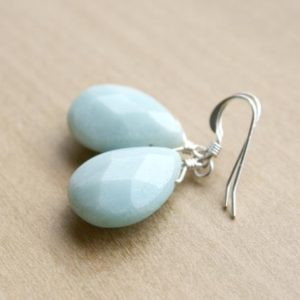 Amazonite Earrings Sterling Silver . Faceted Gemstone Teardrop Earrings Blue . Anxiety Relief Jewelry Gifts for Mom, Wife, Sister | Natural genuine Gemstone earrings. Buy crystal jewelry, handmade handcrafted artisan jewelry for women.  Unique handmade gift ideas. #jewelry #beadedearrings #beadedjewelry #gift #shopping #handmadejewelry #fashion #style #product #earrings #affiliate #ad