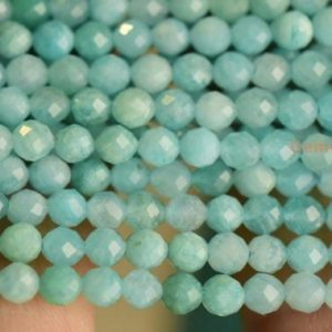"Shop Amazonite Faceted Beads! 15.5"" AA Natural amazonite 3mm round micro faceted beads, Green semi-precious stone DIY beads LGYO 