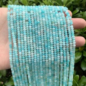 Shop Amazonite Faceted Beads! Natural Amazonite Rondelle Faceted Beads,2x3mm/2.5x4mm/3x5mm Semi Precious Stone Faceted Beads,Genuine Loose Amazonite Gmetone Jewelry Beads | Natural genuine faceted Amazonite beads for beading and jewelry making.  #jewelry #beads #beadedjewelry #diyjewelry #jewelrymaking #beadstore #beading #affiliate #ad