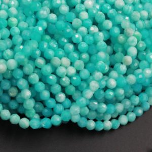 "Shop Amazonite Faceted Beads! Peruvian Amazonite 3mm 4mm Faceted Round Beads Stunning Natural Sea Blue Green Gemstone Micro Faceted Laser Diamond Cut 15.5"" Strand 