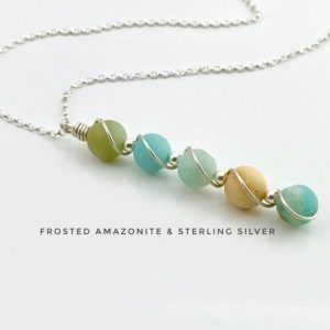 Shop Amazonite Necklaces! Frosted Amazonite Necklace, Sterling Silver | Natural genuine Amazonite necklaces. Buy crystal jewelry, handmade handcrafted artisan jewelry for women.  Unique handmade gift ideas. #jewelry #beadednecklaces #beadedjewelry #gift #shopping #handmadejewelry #fashion #style #product #necklaces #affiliate #ad