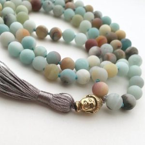 Shop Gemstone & Crystal Necklaces! Amazonite Mala, 108 Bead Malas, Hand Knotted Necklace, Buddhist Necklace, Prayer Necklace, Meditation Jewelry, Hand Knotted Mala Buddhist | Natural genuine Gemstone necklaces. Buy crystal jewelry, handmade handcrafted artisan jewelry for women.  Unique handmade gift ideas. #jewelry #beadednecklaces #beadedjewelry #gift #shopping #handmadejewelry #fashion #style #product #necklaces #affiliate #ad