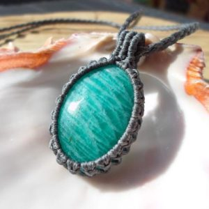 Shop Amazonite Pendants! Amazonite Necklace, Macrame Stone Necklace, Amazonite Pendant, Green Macrame Pendant, Healing Crystal Necklace, Rustic Hippie Jewelry | Natural genuine Amazonite pendants. Buy crystal jewelry, handmade handcrafted artisan jewelry for women.  Unique handmade gift ideas. #jewelry #beadedpendants #beadedjewelry #gift #shopping #handmadejewelry #fashion #style #product #pendants #affiliate #ad