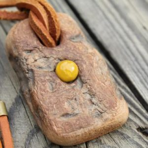 Shop Amber Pendants! Yellow Amber Pearl Pendant Tree Bark Necklace Tree Stump Brown Tan Leather Natural Healing Pendant | Natural genuine Amber pendants. Buy crystal jewelry, handmade handcrafted artisan jewelry for women.  Unique handmade gift ideas. #jewelry #beadedpendants #beadedjewelry #gift #shopping #handmadejewelry #fashion #style #product #pendants #affiliate #ad