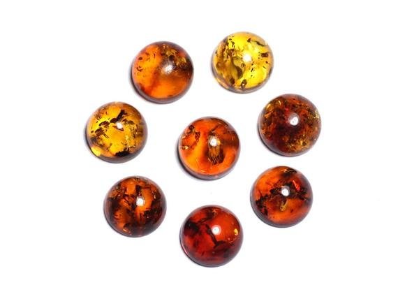 1pc - Cabochon Amber Natural Round 8 Mm - 8741140003200