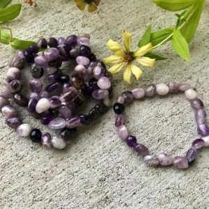 Shop Amethyst Bracelets! Amethyst Tumbled Stone Bracelet | Natural genuine Amethyst bracelets. Buy crystal jewelry, handmade handcrafted artisan jewelry for women.  Unique handmade gift ideas. #jewelry #beadedbracelets #beadedjewelry #gift #shopping #handmadejewelry #fashion #style #product #bracelets #affiliate #ad