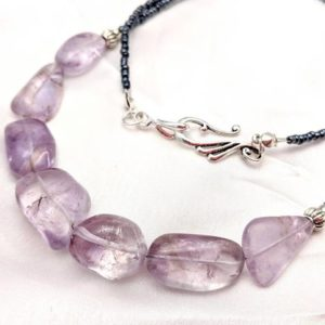 Shop Amethyst Necklaces! Amethyst crystal necklace. Purple gemstone jewelry. Long layering length. February birthstone, Pantone Ultra Violet, color of the year | Natural genuine Amethyst necklaces. Buy crystal jewelry, handmade handcrafted artisan jewelry for women.  Unique handmade gift ideas. #jewelry #beadednecklaces #beadedjewelry #gift #shopping #handmadejewelry #fashion #style #product #necklaces #affiliate #ad