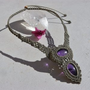 Amethyst Healing Crystal Necklace Macrame Jewelry, Unique Design Statement Necklace, One of a Kind Protection Gift for Her. | Natural genuine Array necklaces. Buy crystal jewelry, handmade handcrafted artisan jewelry for women.  Unique handmade gift ideas. #jewelry #beadednecklaces #beadedjewelry #gift #shopping #handmadejewelry #fashion #style #product #necklaces #affiliate #ad